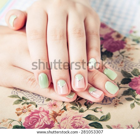 beautiful turquoise manicure. fashion - stock photo