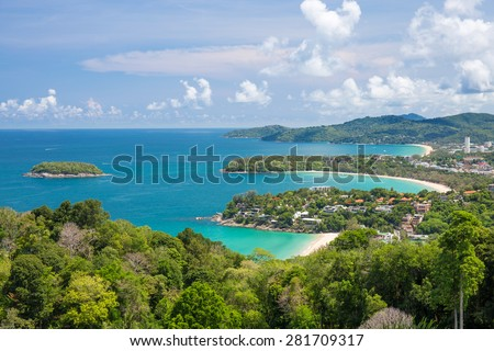 Beautiful turquoise ocean waves with boats and coastline from high view point. Kata and Karon beaches Phuket Thailand - stock photo