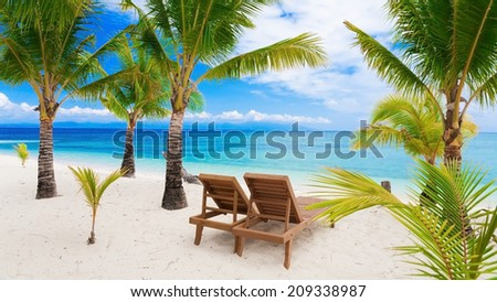 beautiful turquoise sea on the Philippine island - stock photo