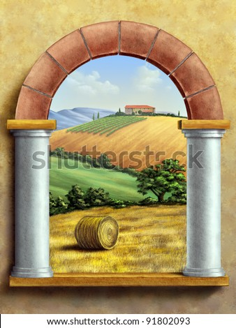 Beautiful tuscan landscape seen through a window. Hand painted digital illustration. - stock photo