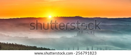 Beautiful Tuscany landscape at sunrise, Italy - stock photo