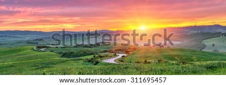 Beautiful Tuscany landscape at sunrise, Italy - stock photo