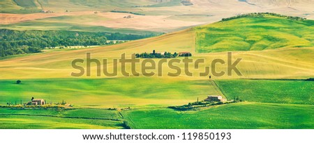 Beautiful Tuscany landscape panorama in Val d'Orcia, province of Siena, Italy - stock photo