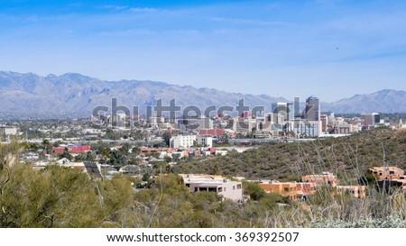 Beautiful Tuscon Arizona skyline - stock photo