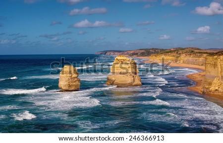 beautiful twelve apostles in Australia - stock photo