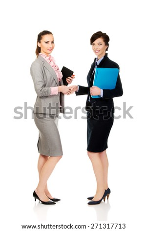 Beautiful two businesswomen giving handshake. - stock photo
