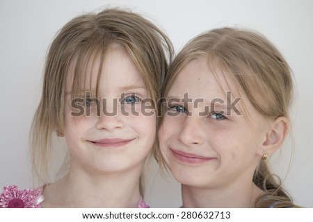 Beautiful two girl child. Portrait close up - stock photo