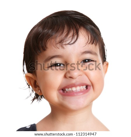beautiful two year old girl with a big smile - stock photo