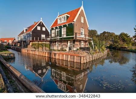 Beautiful typical fisherman village houses in Marken island Waterland, the Netherlands - stock photo