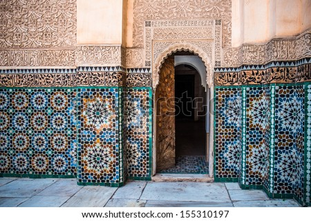 Beautiful typical moroccan tiles  in the Medrassa - stock photo