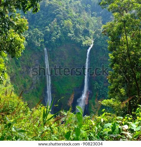 Beautiful Unesco Tad Fan Waterfall in southern Laos - stock photo
