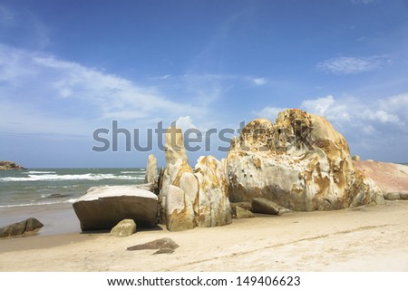Beautiful unspoiled beaches in Vietnam - stock photo