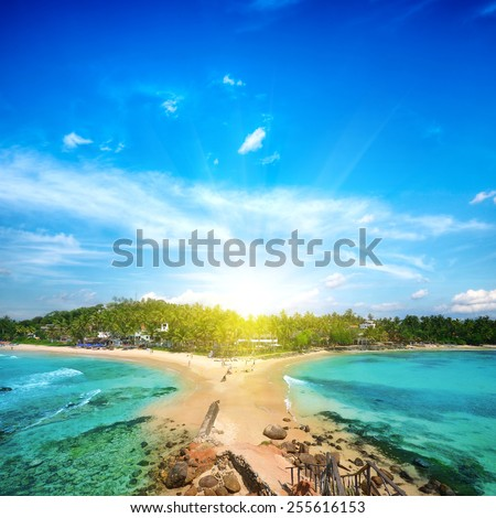 Beautiful untouched beach in Sri Lanka in summer - stock photo