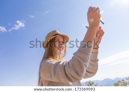 Beautiful urban woman, selfie - stock photo