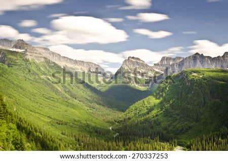 Beautiful valley view of glacier national park - stock photo