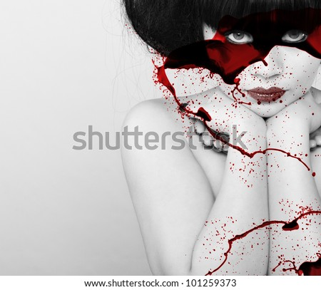 beautiful vampire woman - stock photo