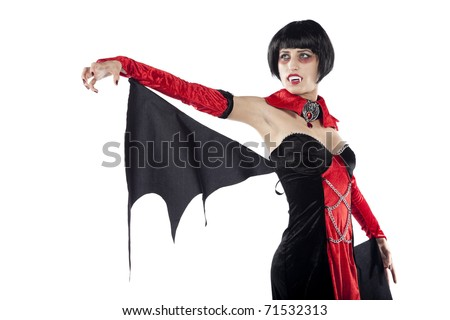 Beautiful vampire woman looking sideways. Isolated on pure white background. - stock photo