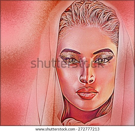 Beautiful veiled woman, close up face. Beauty and fashion hair,cosmetics, eyelashes and eye shadow in our unique, abstract modern digital art style. See our portfolio for more.  - stock photo