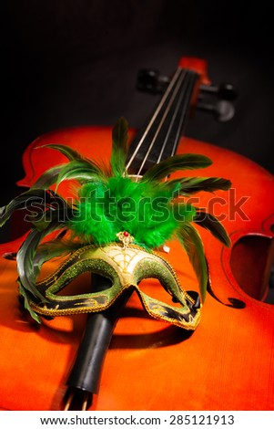 Beautiful Venetian mask with feathers on cello - stock photo