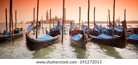 beautiful Venice, Italy with gondolas -colored photo, with added vignetting - stock photo
