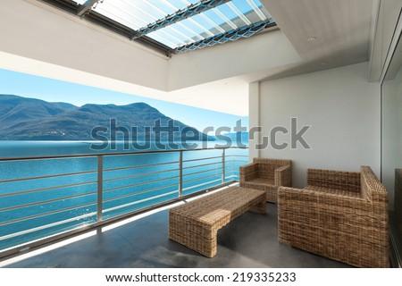 beautiful veranda of a penthouse, outside - stock photo