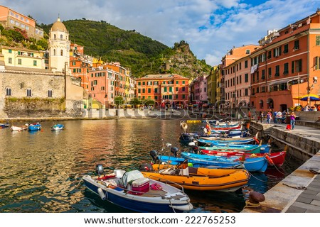 Beautiful Vernazza village in Cinque Terre National Park, Italy. - stock photo
