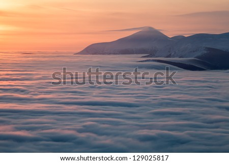 beautiful view above clouds - stock photo