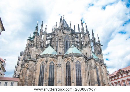 beautiful view back of St. Vitus cathedral in Prague castle - stock photo