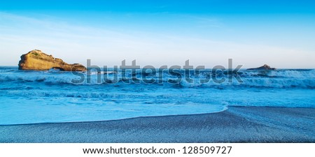 beautiful view, blue ocean, seascape - stock photo