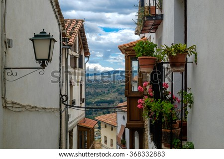 Beautiful view from a balcony in Morella, the province of Castellon, Spain. - stock photo