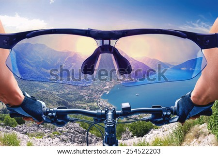 Beautiful view from the bycicle  - stock photo