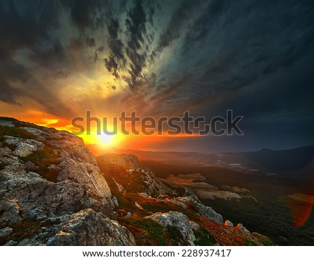 Beautiful view from the Chatyrdag at dawn - stock photo