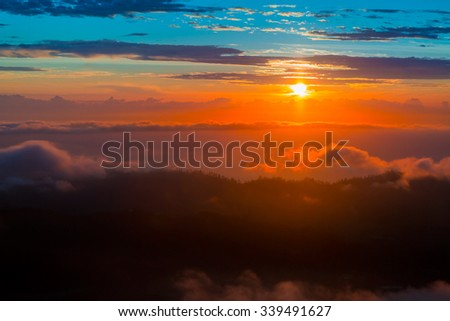 Beautiful view from the top of Batur volcano. Bali, Indonesia - stock photo