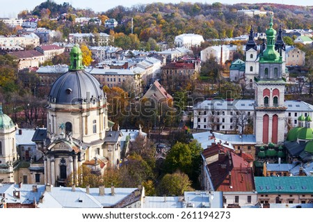 Beautiful view from the Town Hall, Lviv, Ukraine - stock photo