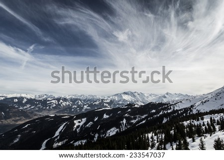 Beautiful view from Zell am See-Kaprun ski resort in Alps - stock photo