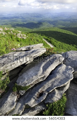 Beautiful view looking down on the Blue Ridge Parkway. North Carolina, USA - stock photo