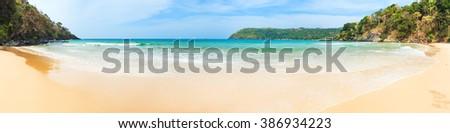 Beautiful view of a beach. Panorama - stock photo