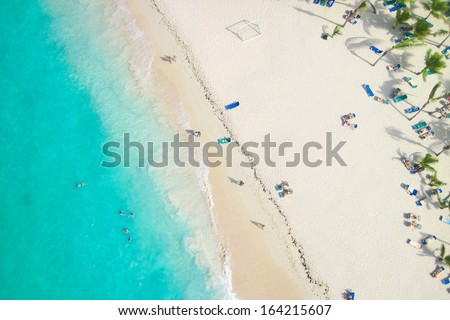 Beautiful view of a nice tropical beach from the air - stock photo