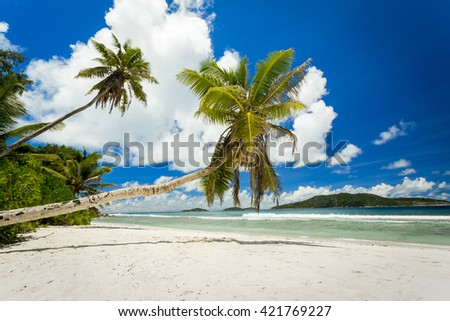 Beautiful view of a tropical beach in La Digue, Seychelles - stock photo