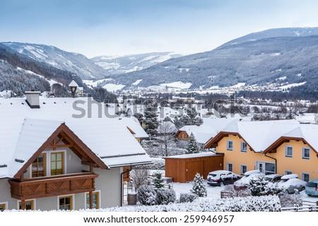 Beautiful view of Alpine village at Austria - stock photo