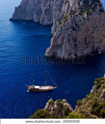 Beautiful view of anchored yachts by Capri Island, southern Italy - stock photo