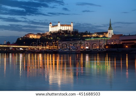 Beautiful view of Bratislava castle at night in Slovakia - stock photo