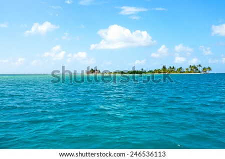 Beautiful view of caribbean sea and Palm Tree tropical island. - stock photo