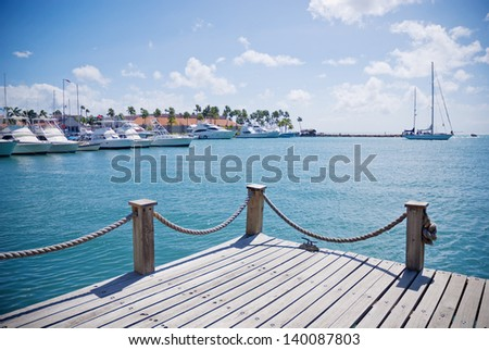 Beautiful view of Caribbean seaport - stock photo