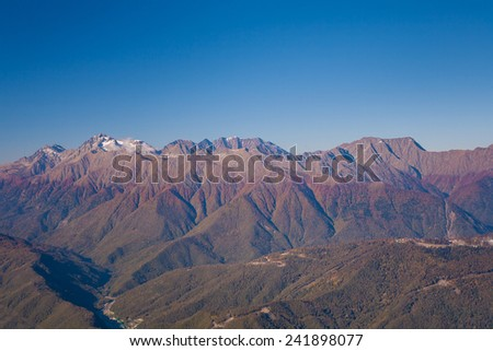 beautiful view of Caucasus mountains in Krasnodar Krai in autumn - stock photo