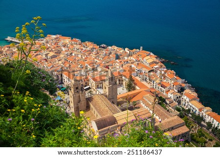 beautiful view of Cefalu old town with Duomo cathedral from bird's eye view, Sicily - stock photo