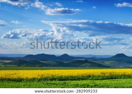 Beautiful view of Central Bohemian Uplands, Czech republic, Europe. - stock photo