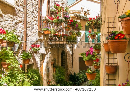 Beautiful view of charming floral streets in Spello, Umbria - Italy. - stock photo