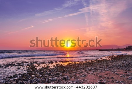 Beautiful view of coastline at sunset. Cambrils, Spain. Horizontal.   - stock photo
