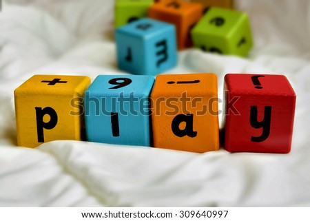 Beautiful view of colorful blocks, signs - stock photo